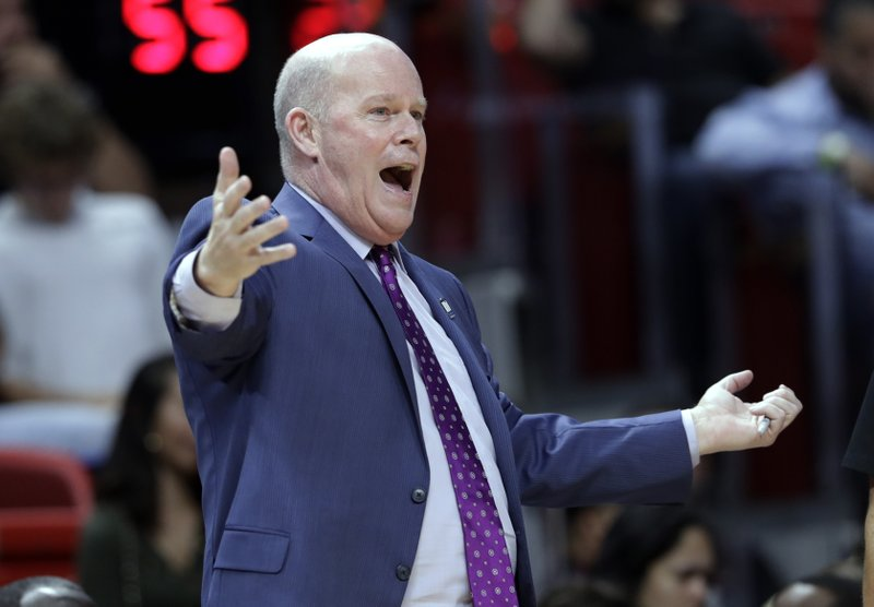 FILE - In this Dec. 4, 2018 file photo, Orlando Magic head coach Steve Clifford reacts during the second half of an NBA basketball game against the Miami Heat in Miami. (AP Photo/Lynne Sladky, File)