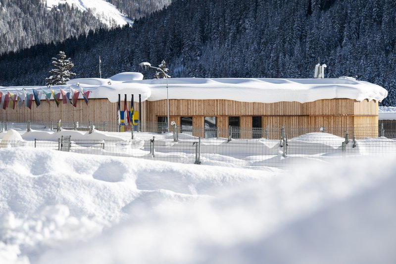 The congress centre, venue for the World Economic Forum, is covered with snow in Davos, Switzerland, Tuesday, Jan. (Gian Ehrenzeller/Keystone via AP)