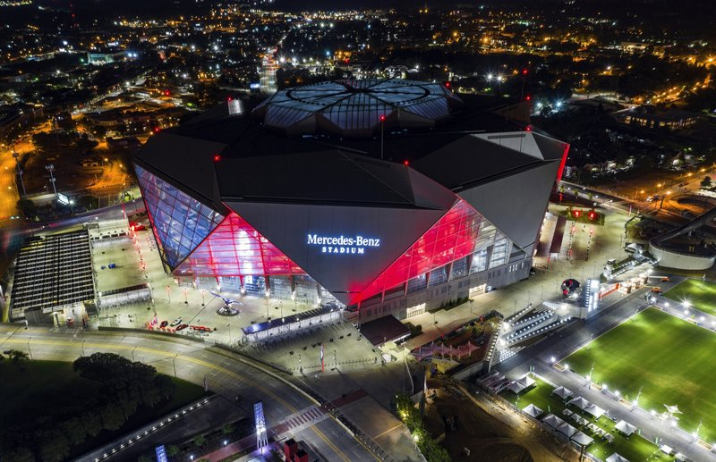 In this Friday, Sep. 21, 2018, photo, Mercedes-Benz Stadium is seen in this aerial photo in Atlanta. The stadium will be the site of Super Bowl LIII on Sunday, Feb. (AP Photo/Danny Karnik)