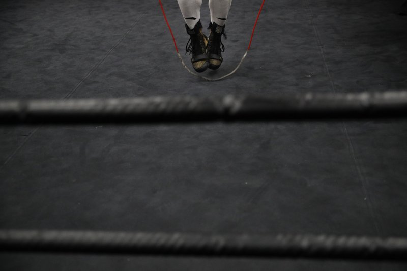 Boxer Manny Pacquiao jumps rope while cooling down after his workout at the Wild Card Boxing Club Monday, Jan. (AP Photo/Jae C. Hong)