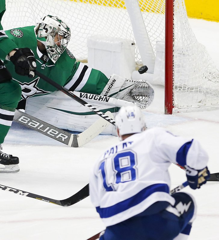Dallas Stars goaltender Anton Khudobin (35) is unable to stop a shot by Tampa Bay Lightning forward Ondrej Palat (18) during the first period of an NHL hockey game, Tuesday, Jan. (AP Photo/Brandon Wade)