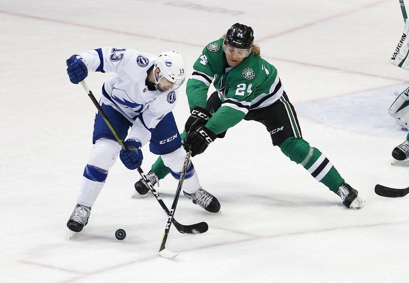 Tampa Bay Lightning forward Cedric Paquette (13) battles Dallas Stars forward Roope Hintz (24) for the puck during the first period of an NHL hockey game, Tuesday, Jan. (AP Photo/Brandon Wade)