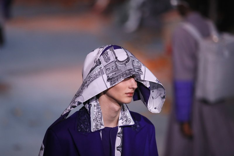 A model wears a creation for the Vuitton men's Fall/Winter 2019/20 fashion collection presented in Paris, Thursday Jan. (AP Photo/Francois Mori)