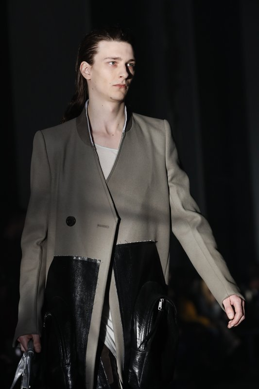 A model wears a creation for Rick Owens men's Fall/Winter 2019/20 fashion collection presented in Paris, Thursday Jan. (AP Photo/Christophe Ena)