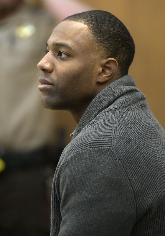 Torrey Green listens to testimony during his rape trial, Monday, Jan.14, 2019 in Brigham City, Utah. Green is accused of raping multiple women while he was a football player at Utah State University. (Eli Lucero/Herald Journal via AP)