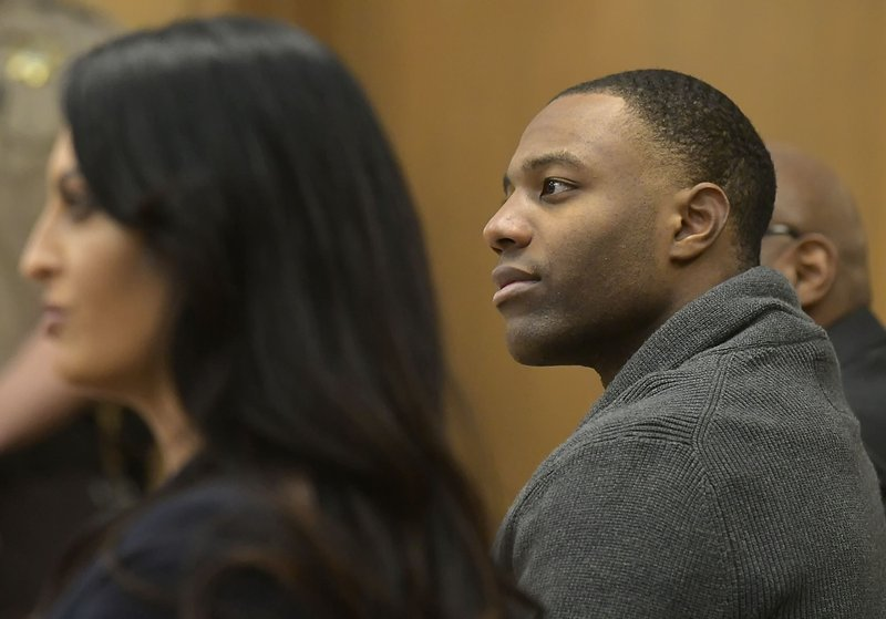 Torrey Green listens to testimony during his rape trial, Monday, Jan. 14, 2019 in Brigham City, Utah. (Eli Lucero/Herald Journal via AP)