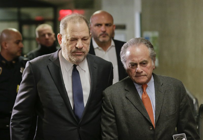 FILE- In this Dec. 20, 2018 file photo, Harvey Weinstein, left, arrives at New York Supreme Court with his attorney Benjamin Brafman in New York. (AP Photo/Seth Wenig, File)