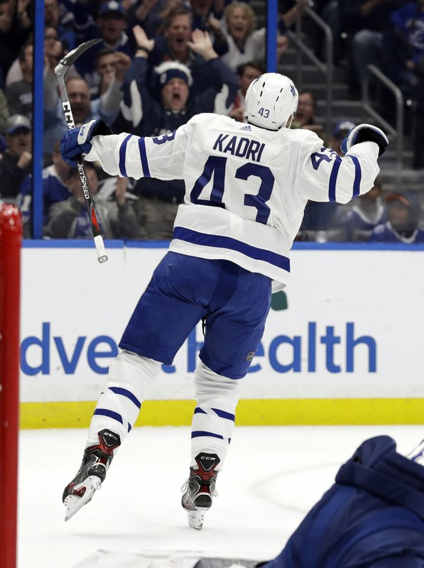 Toronto Maple Leafs center Nazem Kadri (43) celebates his goal against the Tampa Bay Lightning during the first period of an NHL hockey game, Thursday, Jan. (AP Photo/Chris O'Meara)