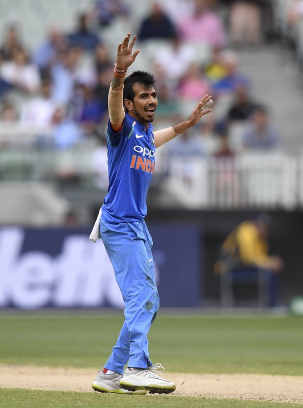 India's Yuzvendra Chahal appeals during their one day international cricket match against Australia in Melbourne, Australia, Friday, Jan. (AP Photo/Mal Fairclough)