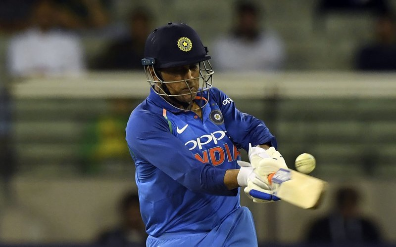 India's M.S. Dhoni bats during their one day international cricket match against Australia in Melbourne, Australia, Friday, Jan. (AP Photo/Mal Fairclough)