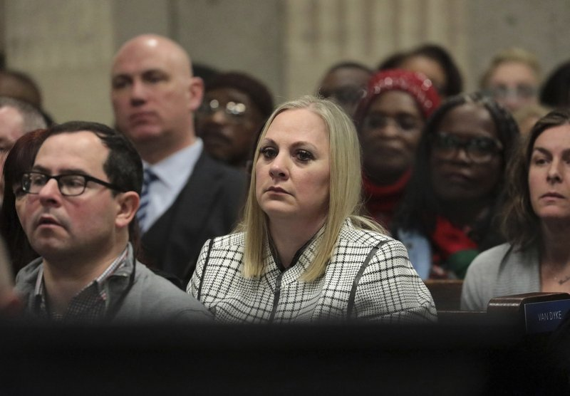 Tiffany Van Dyke wife of former Chicago police Officer Jason Van Dyke attends his sentencing hearing at the Leighton Criminal Court Building, Friday, Jan. (Antonio Perez/Chicago Tribune via AP, Pool)