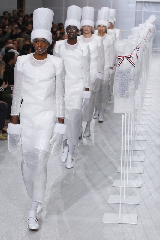 Models wear creations for the Thom Browne men's Fall/Winter 2019/20 fashion collection presented in Paris, Saturday Jan. (AP Photo/Francois Mori)