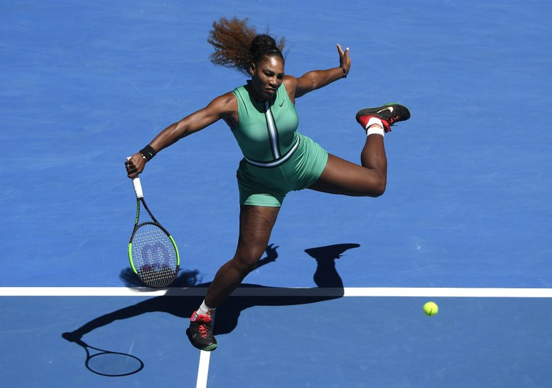 United States' Serena Williams makes a backhand return to Ukraine's Dayana Yastremska during their third round match at the Australian Open tennis championships in Melbourne, Australia, Saturday, Jan. (AP Photo/Andy Brownbill)