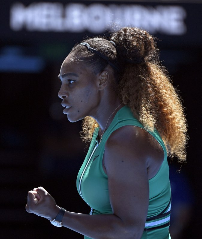 United States' Serena reacts after winning a point against Williams Ukraine's Dayana Yastremska during their third round match at the Australian Open tennis championships in Melbourne, Australia, Saturday, Jan. (AP Photo/Andy Brownbill)