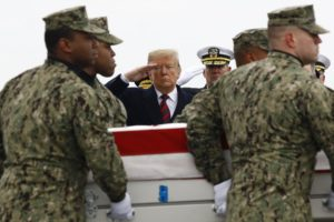 Update: Trump at ceremony for Americans killed in Syria