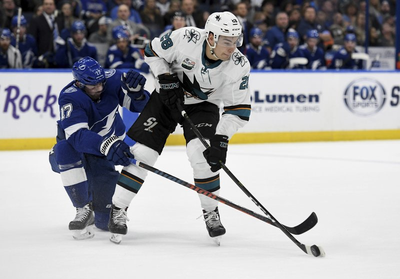 Tampa Bay Lightning left wing Alex Killorn (17) and San Jose Sharks right wing Timo Meier (28) fight for the puck during the first period of an NHL hockey game Saturday, Jan. (AP Photo/Jason Behnken)