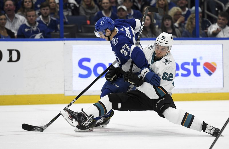 Tampa Bay Lightning center Yanni Gourde (37) and San Jose Sharks right wing Kevin Labanc (62) battle for the puck during the second period of an NHL hockey game Saturday, Jan. (AP Photo/Jason Behnken)