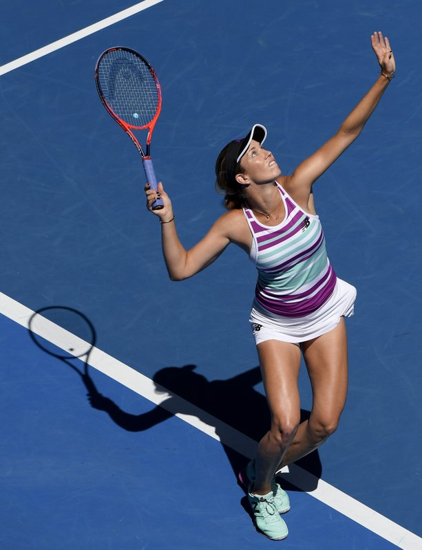 United States' Danielle Collins serves to Germany's Angelique Kerber during their fourth round match at the Australian Open tennis championships in Melbourne, Australia, Sunday, Jan. (AP Photo/Andy Brownbill)