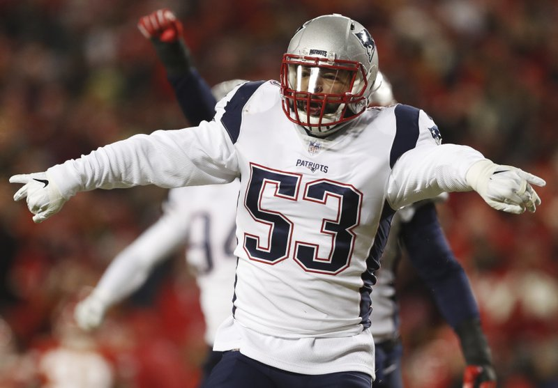 New England Patriots middle linebacker Kyle Van Noy (53) celebrates after sacking Kansas City Chiefs quarterback Patrick Mahomes during the first half of the AFC Championship NFL football game, Sunday, Jan. (AP Photo/Jeff Roberson)
