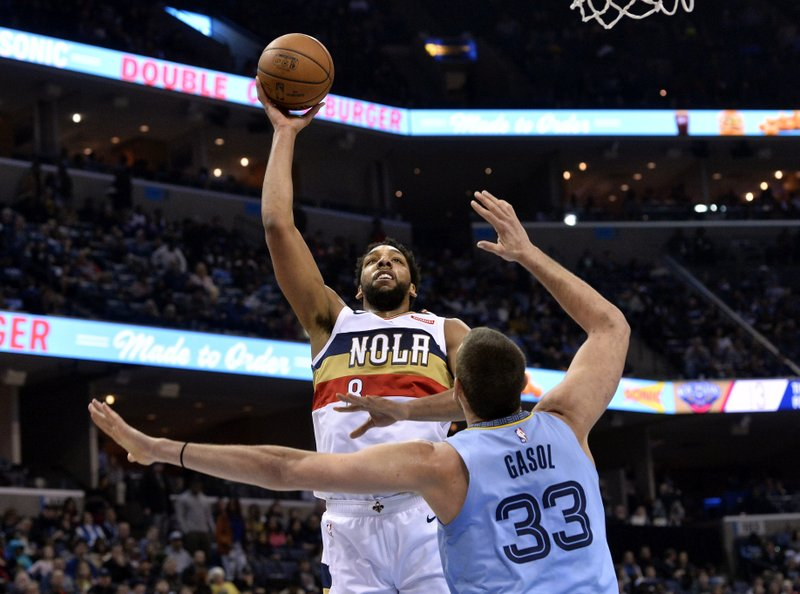 New Orleans Pelicans center Jahlil Okafor (8) shoots against Memphis Grizzlies center Marc Gasol (33) in the first half of an NBA basketball game Monday, Jan. (AP Photo/Brandon Dill)
