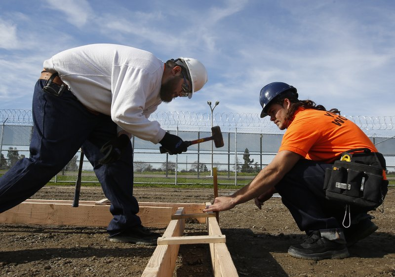 Youth offenders Siegmond Navar, left and Gabriel Andalon construct a concrete frame at one of the vocational classes the O. (AP Photo/Rich Pedroncelli)