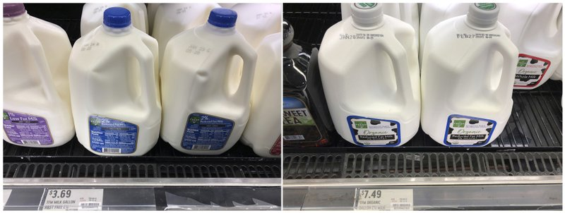 In this Thursday, Jan. 17, 2019, combination photo, regular 2 percent fat milk, left, is shown for sale at $3. (AP Photo/Wilfredo Lee)
