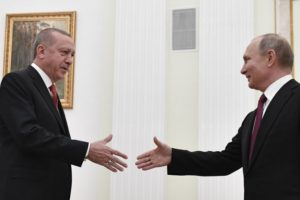 Turkey's president in Moscow for Syria talks with Putin