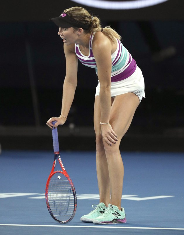 United States' Danielle Collins reacts during her semifinal against Petra Kvitova of the Czech Republic at the Australian Open tennis championships in Melbourne, Australia, Thursday, Jan. (AP Photo/Kin Cheung)