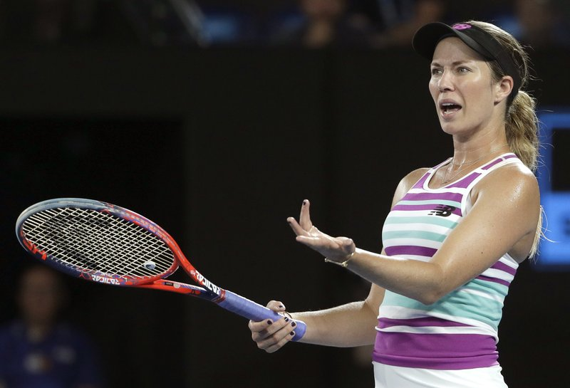 United States' Danielle Collins gestures as she questions a call from chair umpire Carlos Ramos during her semifinal against Petra Kvitova of the Czech Republic at the Australian Open tennis championships in Melbourne, Australia, Thursday, Jan. (AP Photo/Mark Schiefelbein)