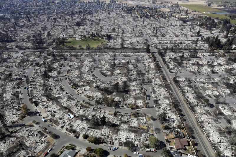 FILE - This Oct. 14, 2017 file photo shows an aerial view shows the devastation of the Coffey Park neighborhood after the Tubbs swept through in Santa Rosa, Calif. (AP Photo/Marcio Jose Sanchez, File)