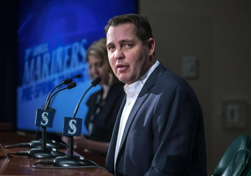Seattle Mariners Director of Player Development,  Andy McKay, answers questions during the annual pre-spring training media event, Thursday, Jan. (Steve Ringman/The Seattle Times via AP)