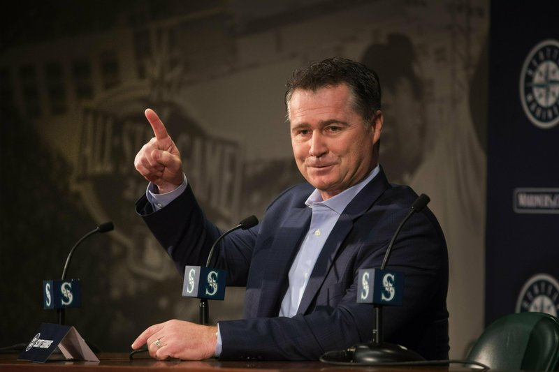Seattle Mariners Manager Scott Servais answers questions during the annual pre-spring training media event, Thursday, Jan. (Steve Ringman/The Seattle Times via AP)
