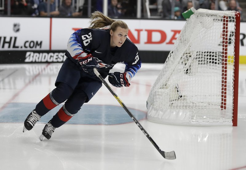 United States' Kendall Coyne skates during the Skills Competition, part of the NHL All-Star weekend, in San Jose, Calif. (AP Photo/Ben Margot)