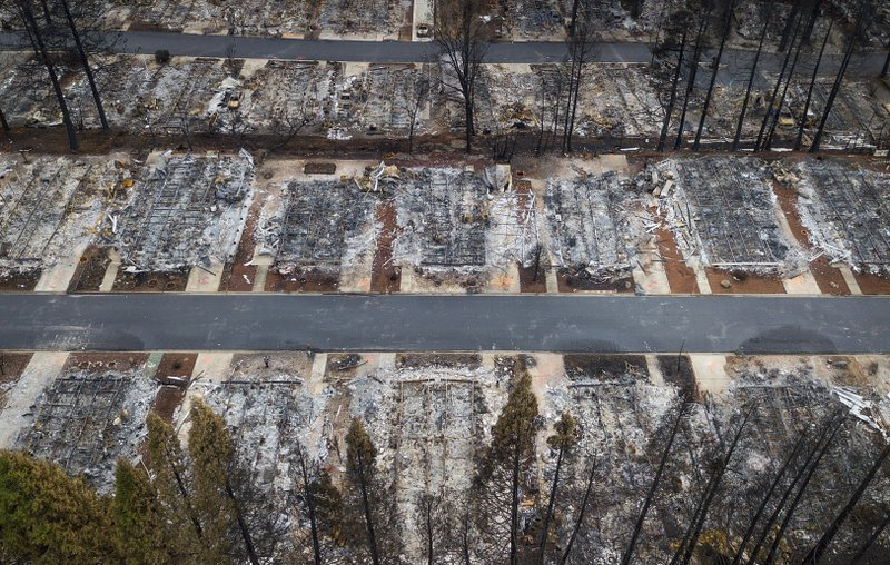 FILE- This Dec. 3, 2018, file photo shows homes leveled by the Camp Fire line the Ridgewood Mobile Home Park retirement community in Paradise, Calif. (AP Photo/Noah Berger, File)