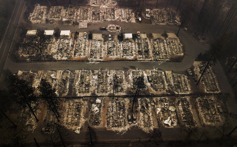 FILE - This Nov. 15, 2018, aerial file photo shows the remains of residences leveled by the Camp wildfire in Paradise, Calif. (AP Photo/Noah Berger, File)