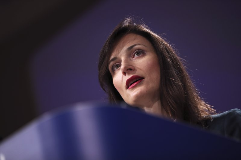 EU Commissioner for Digital Economy Mariya Gabriel talks to journalists during a joint news conference with EU Commissioner for Security Union Julian King at the European Commission headquarters in Brussels, Tuesday, Jan. (AP Photo/Francisco Seco)