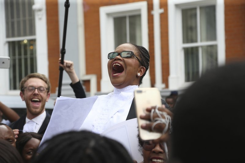 Beatrice Mtetwa a prominent Zimbabwean lawyer addresses fellow lawyers during a protest over rule of law concerns in Harare, Tuesday Jan. (AP Photo/Tsvangirayi Mukwazhi)