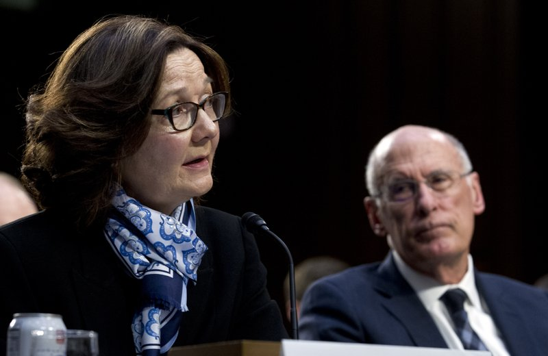 CIA Director Gina Haspel accompanied by Director of National Intelligence Daniel Coats arrive to testifies before the Senate Intelligence Committee on Capitol Hill in Washington Tuesday, Jan. (AP Photo/Jose Luis Magana)
