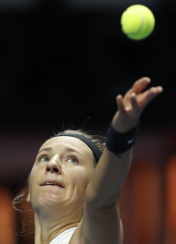 Victoria Azarenka of Belarus serves during the St. Petersburg Ladies Trophy-2019 tennis tournament match against Margarita Gasparyan of Russia in St. (AP Photo/Dmitri Lovetsky)