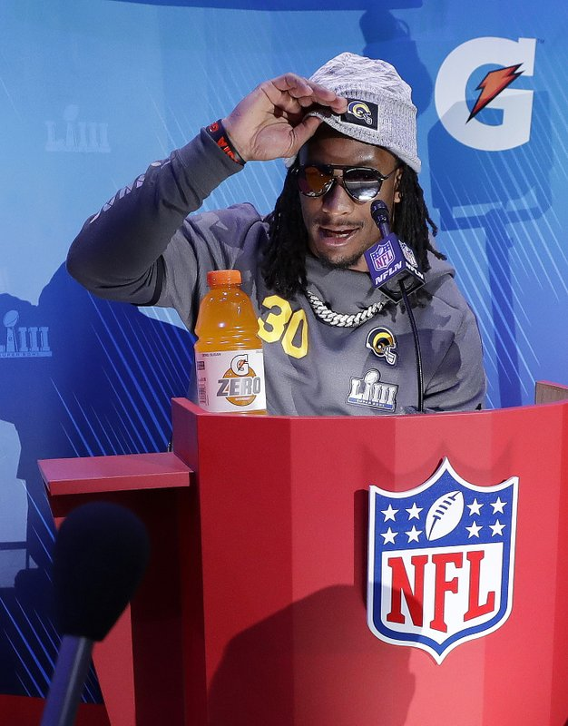 Los Angeles Rams' Todd Gurley adjusts his hat during Opening Night for the NFL Super Bowl 53 football game Monday, Jan. (AP Photo/David J. Phillip)