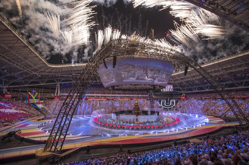 FILE In this file photo taken on Saturday, July 6, 2013, Fireworks explode at the opening ceremony for the 27th Universiade games in Kazan, 720 kilometers (450 miles) east of Moscow, Russia. (AP Photo/Alexander Zemlianichenko, pool, File)