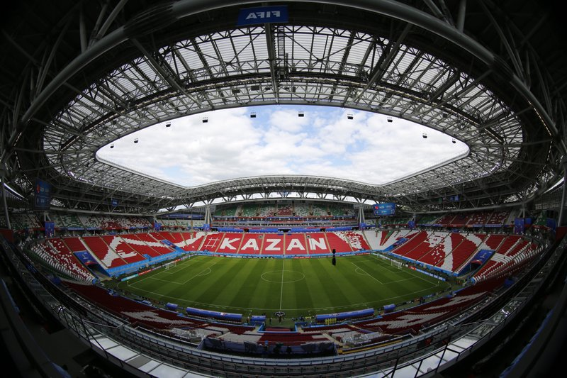 FILE In this file photo taken on Friday, June 15, 2018, A general view shows the Kazan Arena before Australia's official training for the group C match between France and Australia at the 2018 soccer World Cup in the Kazan Arena in Kazan, Russia . (AP Photo/Hassan Ammar, File)