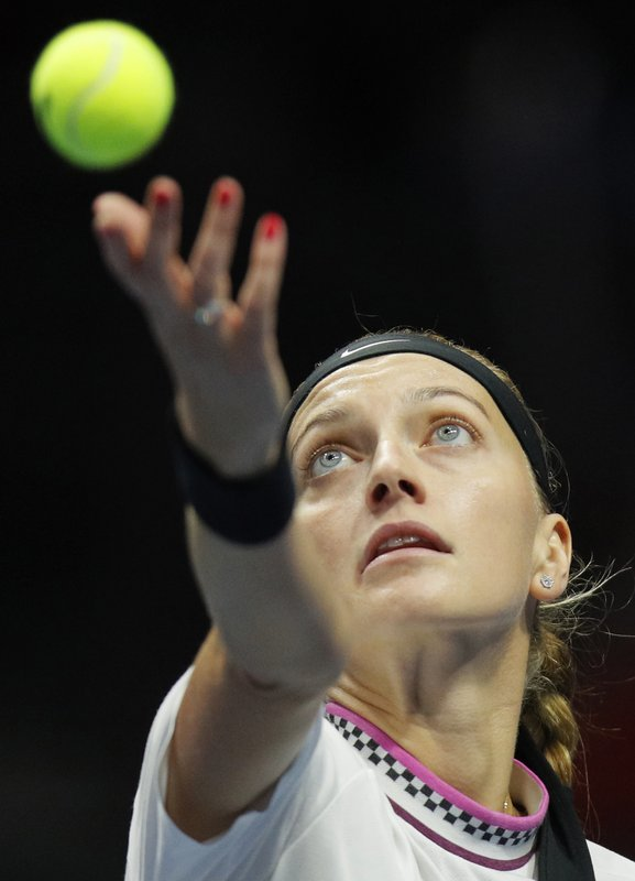 Petra Kvitova of Czech Republic serves during the St. Petersburg Ladies Trophy-2019 tennis tournament match against Victoria Azarenka of Belarus in St. (AP Photo/Dmitri Lovetsky)