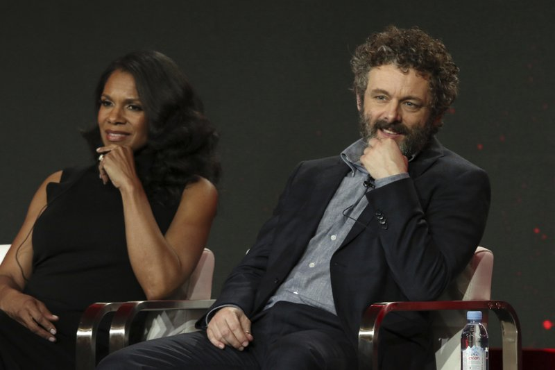 Audra McDonald, left, and Michael Sheen participate in the