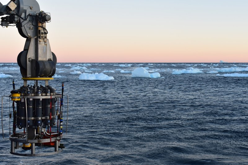 In this September 2018 photo provided by researcher Isabela Le Bras, a probe which collects water samples and measures temperature, salinity and pressure is prepared for deployment on the continental shelf of Greenland. (AMOC), a circulation of warm and cold waters that stretches from around Greenland south to beyond the tip of Africa and into the Indian Ocean. (Isabela Le Bras via AP)
