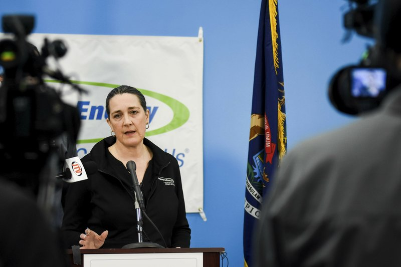 CORRECTS SPELLING OF LAST NAME TO POPPE INSTEAD OF POPE - Consumers Energy CEO Patti Poppe speaks during a news conference in Jackson, Mich. (Mary Lewandowski/Jackson Citizen Patriot via AP)