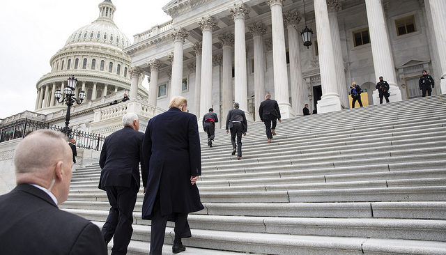 President Donald J. Trump, joined by Vice President Mike Pence, arrives at the U.S. Capitol to attend a Senate Republican Policy Lunch Wednesday, January 9, 2019. (Official White House Photo by Joyce N. Boghosian)