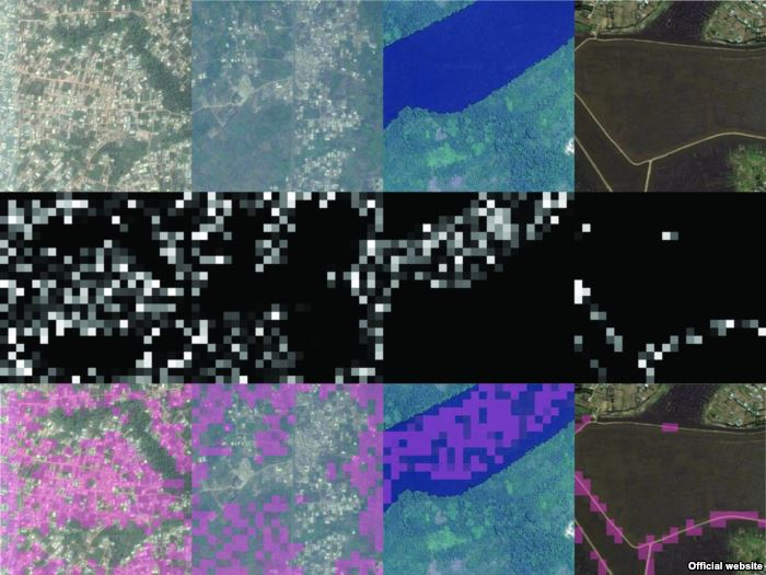 By column, four different convolutional filters (which identify, from left to
