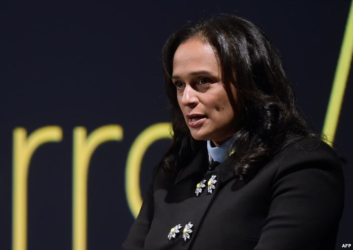 FILE - Angolan businesswoman Isabel dos Santos delivers a speech during the s