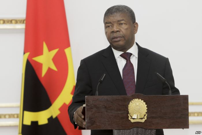 FILE - Angolan President Joao Lourenco speaks during a press conference in Lu